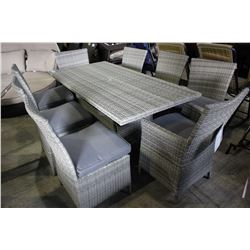 RECTANGULAR PATIO DINING TABLE WITH EIGHT CHAIRS - GREY CUSHIONS