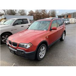 2005 BMW X3, RED, 4DRSW, GAS, AUTOMATIC, VIN#WBXPA73455WC45776, 296,117KMS, OOP,