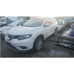 2014 NISSAN ROUGE, WHITE, 4DRSW, GAS, AUTOMATIC, *NO KEYS, NOT ROADWORTHY MUST TOW*,