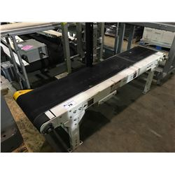 "WHITE INDUSTRIAL 70"" X 16"" RUBBER AND STAINLESS CONVEYER WITH MOTOR AND HYDRAULIC PACKAGE PUSHER"