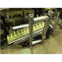DORNER 2100 SERIES RUBBER AND STAINLESS POWERED SORTING CONVEYER WITH SPEED CONTROL\