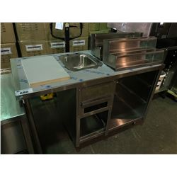 QUEST STAINLESS STEEL PREP COUNTER WITH HAND WASH SINK, AND 2 BOTTLE RACKS