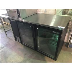 TRUE MODEL TBB-2G-LD 2 DOOR GLASS FRONT STAINLESS STEEL PREP COUNTER
