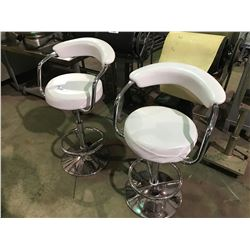 2 WHITE CHROME AND WHITE GAS LIFT BAR STOOLS