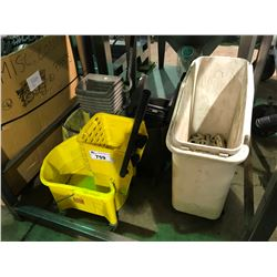 ASSORTED MOP BUCKET, MOBILE FLOUR BIN