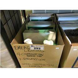 BOX OF ESCAPE SIGNS AND EMERGENCY LIGHTING