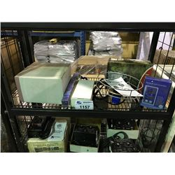 SHELF LOT CONTAINS: BLUE LAB PH MONITOR/FOUNTAIN/ASSORTED LAB TESTING EQUIPMENT