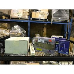 SHELF LOT OF PH TESTERS./HEATER/SALT METERS