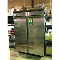 FOSTER STAINLESS STEEL DOUBLE DOOR MOBILE  REFRIGERATOR   (NO KEYS) IS UNLOCKED