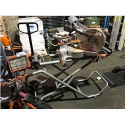 TERRATECH SLIDING COMPOUND MITER SAW WITH WITH RIDGID MITER SAW UTILITY VEHICLE STAND