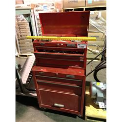 RED 2 PIECE STANLEY TOOL CHEST WITH TOOL CONTENTS