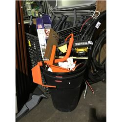 BIN WITH CONTENTS OF LIGHTS, TRAILER WHEEL LOCK, PROPANE TORCH KIT,AND MISC CONTENTS