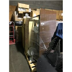 PALLET OF OFFICE FURNITURE AND FANS