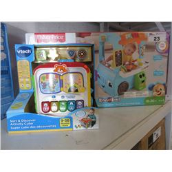 FISHER PRICE FOOD STAND & VTECH SOFT DISCOVER ACTIVITY CUBE