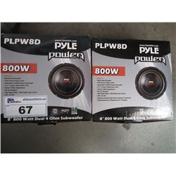 "2 PYLE POWER PLPW8D 8"" 800W DUAL 4 OHM SUBWOOFERS"