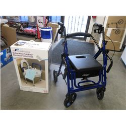 DRIVE TRANSPORT CHAIR & EXTRA-WIDE TALL-ETTE ELEVATED TOILET SEAT