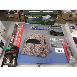 DOGHOUSE 2 PERSON HUNTING TENT, COLDWELL BALLISTIC CHRONOGRAM, GUN RACK, LASER BORESIGHT, ASSORTED