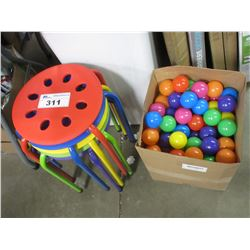 4 MULTI-COLOURED CHILDRENS STOOLS & PLAY PEN BALLS