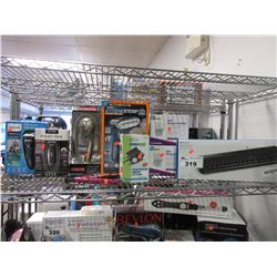 SHELF OF ASSORTED HOUSEHOLD, BEAUTY, AND ELECTRONIC ITEMS