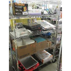 4 SHELFS OF ASSORTED HOUSEHOLD ITEMS (RACK NOT INCLUDED)