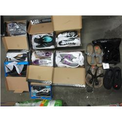SHELF LOT OF ASSORTED SHOES & FOOTWEAR