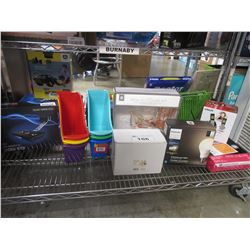 SHELF OF ASSORTED HOUSEHOLD ITEMS & MISC