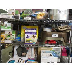 SHELF LOT OF ASSORTED PET SUPPLY