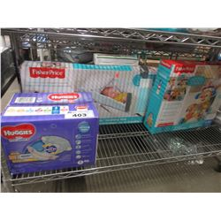 SHELF LOT OF ASSORTED BABY GEAR