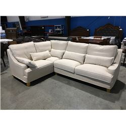 2 PC CREAM & WHITE UPHOLSTERED SECTIONAL SOFA