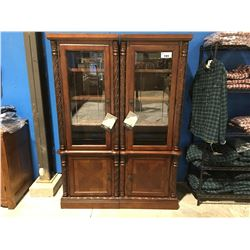 MAHOGANY FINISH BEVELED GLASS FRONT 2 PC DISPLAY/BOOK CABINET SET
