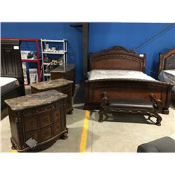 KING SIZE MAHOGANY FINISH 5 PC BEDROOM SUITE - HEAD BOARD, FOOT BOARD, RAILS, 9 DRAWER GRANITE TOP