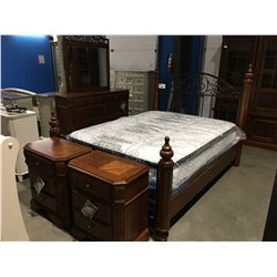 QUEEN SIZE MAHOGANY WITH METAL ACCENTS 5 PCE BEDROOM SUITE, HEAD BOARD, FOOT BOARD, RAILS/ 9 DRAWER