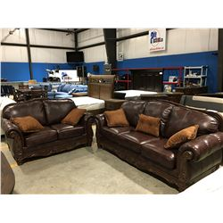 2 PC BROWN LEATHER SOFA & LOVE SEAT SET WITH 5 THROW CUSHIONS