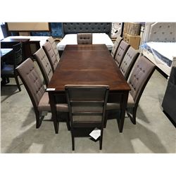 13 PC MAHOGANY FINISH DINING TABLE SET - TABLE WITH 2 LEAFS & 10 CHAIRS