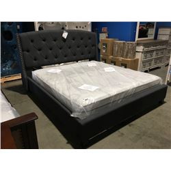KING SIZE GREY UPHOLSTERED WITH METAL BUTTON ACCENTS BED, HEAD BOARD, FOOT BOARD & RAILS