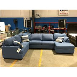 3 PC ROBIN EGG BLUE UPHOLSTERED SECTIONAL SOFA WITH 5 THROW CUSHIONS