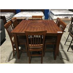 CONTEMPORARY COUNTER HEIGHT TABLE WITH 6 CHAIRS - FEATURES LAZY SUSAN CENTRE