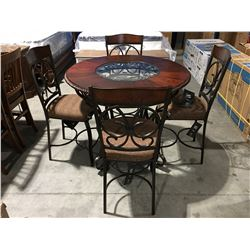 CONTEMPORARY GLASS TOP WOOD & METAL ROUND COUNTER HEIGHT TABLE WITH 4 CHAIRS