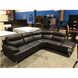 BROWN LEATHER UPHOLSTERED 3 PC SECTIONAL SOFA
