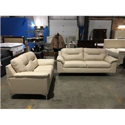 2 PC CREAM LEATHER UPHOLSTERED SOFA & LOVE SEAT SET