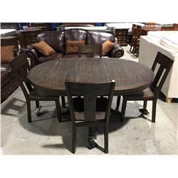 CONTEMPORARY RUSTIC PINE LOOK DINING TABLE WITH 1 LEAF & 4 CHAIRS