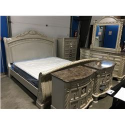 KING SIZE WHITE 6 PC BEDROOM SUITE (HEADBOARD, FOOTBOARD, RAILS) 9 DRAWER GRANITE TOP DRESSER WITH
