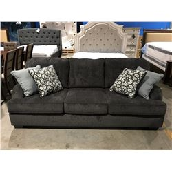 CHARCOAL GREY UPHOLSTERED 3 SEATER SOFA WITH 4 THROW CUSHIONS