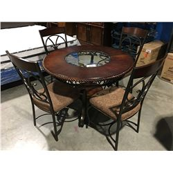 5 PC ROUND GLASS TOP WOOD & METAL DINING TABLE SET