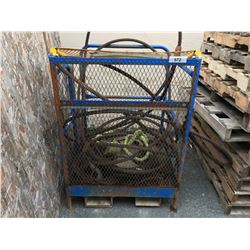 PALLET LIFT SAFETY CAGE & ASSORTED BRAIDED STEEL CABLE & HEAVY TIE-DOWN STRAPS