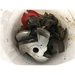 WHITE BUCKET OF ASSORTED MOULDING BLADES FOR SHAPER