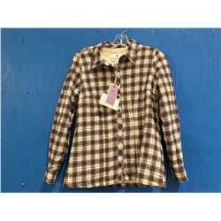 LEE VALLEY IRELAND ESKRA LINED SHIRT -  MAROON CHECK SIZE S