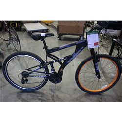 "BLACK HYPER BEAR MOUNTAIN 21 SPEED DUAL SUSPENSION MOUNTAIN BIKE WITH ALUMINUM 27.5"" FRAME"