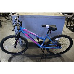 "PINK/BLUE MOVELO ALGONQUIN 18 SPEED MOUNTAIN BIKE WITH 24"" HI TEN STEEL FRAME"