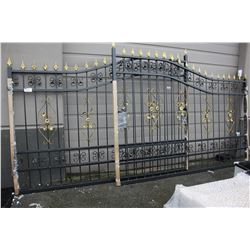LARGE BLACK AND GOLD ORNATE METAL GATE - 232 INCH TOTAL LENGTH
